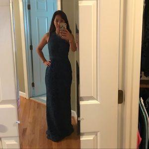 One shoulder lace floor length dress